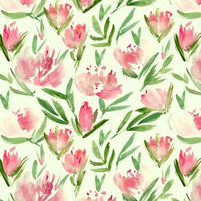 Fresh peonies on soft green - watercolor peony floral spring pattern