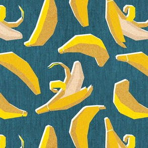 Small scale // Paper cut geo bananas // teal background yellow geometric fruits
