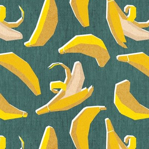 Small scale // Paper cut geo bananas // green background yellow geometric fruits