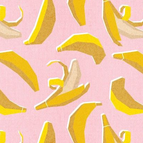 Small scale // Paper cut geo bananas // pastel pink background yellow geometric fruits
