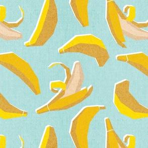 Small scale // Paper cut geo bananas // aqua background yellow geometric fruits