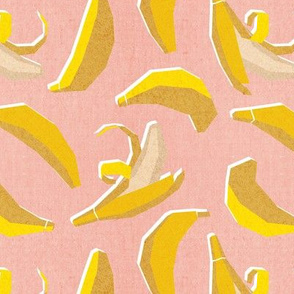 Small scale // Paper cut geo bananas // coral background yellow geometric fruits