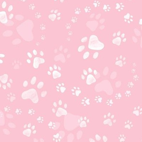 Paw prints rose pink - small scale