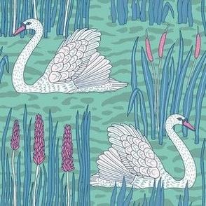 "Swans (6"") - green-blue"