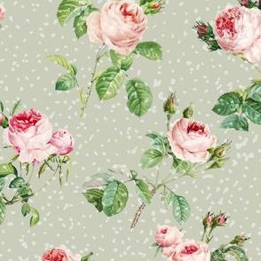 Vintage Roses Green Pattern