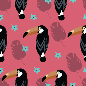 Tropical Parrot Toucan Seamless Repeat Vector Pattern