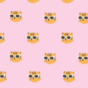 Pink Leopard Head with Sunglasses Seamless Repeat Vector Pattern