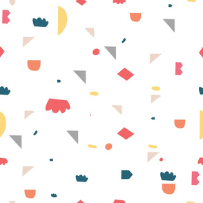Abstract Geometric Scattered Colorful Shapes Seamless Stock