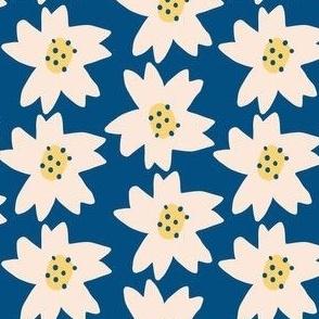 Pantone Blue Stylized Daisy Pattern