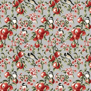 Chickadees & Apples - Grey - Small
