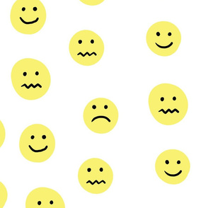 Yellow Smiley Faces Mixed Emotions Pattern