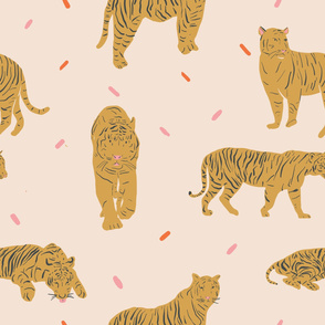 Gold Tigers Seamless repeat Vector Pattern