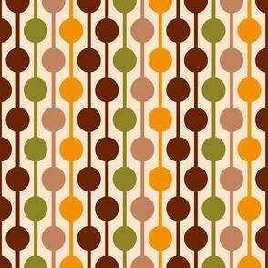 Retro 60s circles hanging grid brown orange Fabric