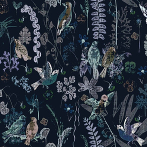 birds tapestry navy bkgd