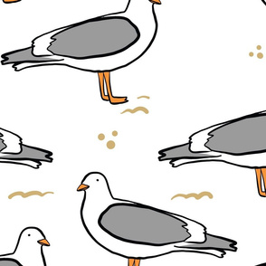 White Seagulls Beach Pattern