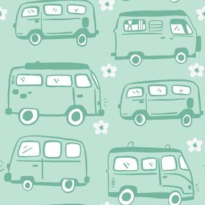 Mint Green Bus Pattern
