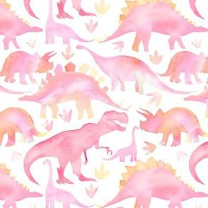 Watercolour Dinosaurs - pink - medium scale