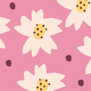 Cut Paper White Daisies Seamless Repeat Vector Pattern