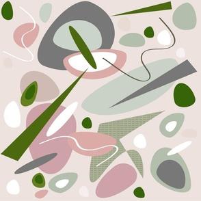 mid century modern Sea Glass Stones pink gray