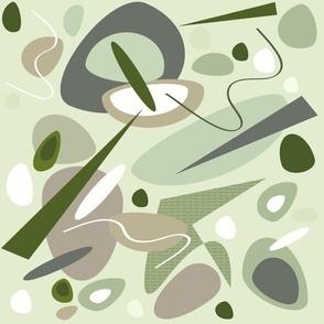 mid century modern Sea Glass Stones green gray