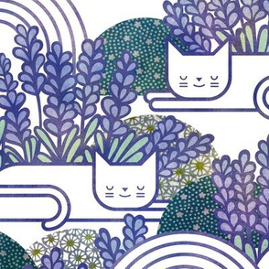 Lavender Field Cats- Cat Nap Garden- Tranquil Pets Floral- Pet Aromatherapy