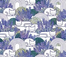 Lavender Field Cats- Cat Nap Garden