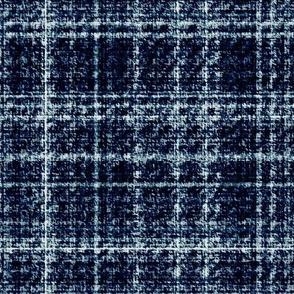Tweed teal blue white plaid