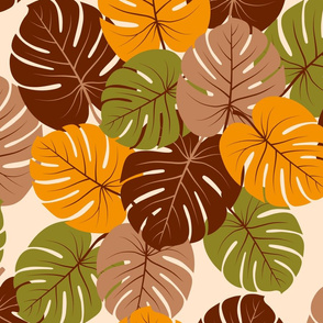 Retro 70s Monstera leaves asymmetric large scale Curtains Fabric
