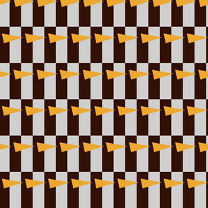 ARROWS ON CHECKED BACKGROUND (BROWN AND GRAY)