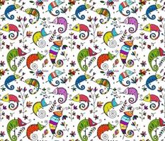 Funny colorful Chameleons Pattern