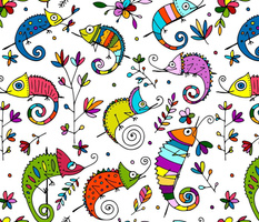 Funny colorful Chameleons
