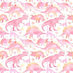 Watercolour Dinosaurs -pink - small scale
