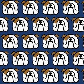 English Bulldog faces fabric on dark blue