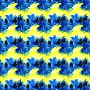 Blue Tie Dye waves yellow Wallpaper Fabric