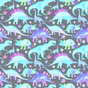 Blue, Aqua, Purple Dinosaurs on grey - small scale
