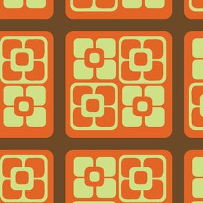 Retro Jam-Mod Square Floral-Cinnamon and Orange