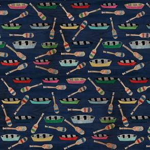 canoe paddles vintage navy blue waters- LG 14