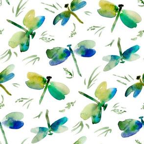 watercolor dragonflies foliage