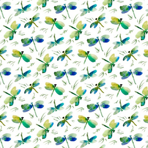 watercolor dragonflies foliage Small scale