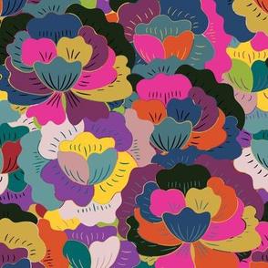Trendy ethnic decorative colorful folk flowers