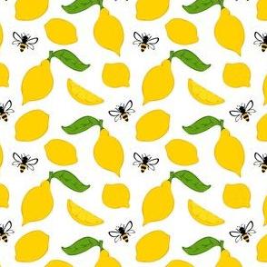 Meyer Lemons and Bees on White