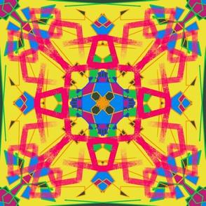 Yellow psychedelic geometric tile