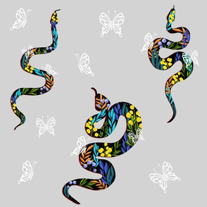 Colourful  Snakes In Abstract Florals
