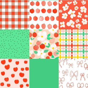 apple orchard cheater quilt - green