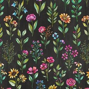 field of flowers charcoal black