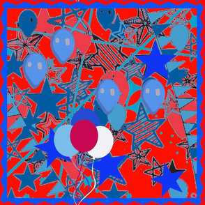 Balloons and Streamers on Red and Blue