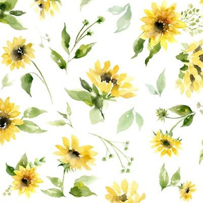 """9"""" sunflower floral on white"""