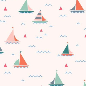 Sailing Boats on light pink