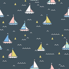 Sailing Boats on dark grey