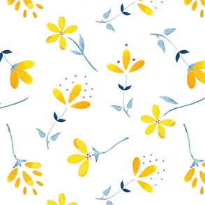 Beautiful Yellow Watercolor Wild Florals on White seamless pattern background.